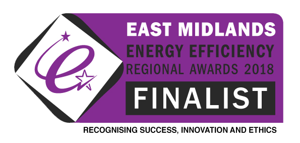 Finalist Badge for East Midlands Energy Efficiency Regional Awards 2018
